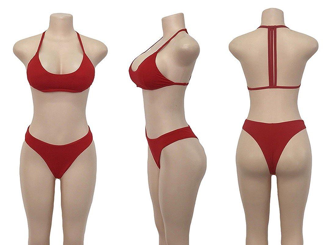 94e72d60faf Amazon.com  Paixpays Women Strap Bikini Set Padded 2 Piece Swimsuit Bathing  Suit swimwear  Clothing