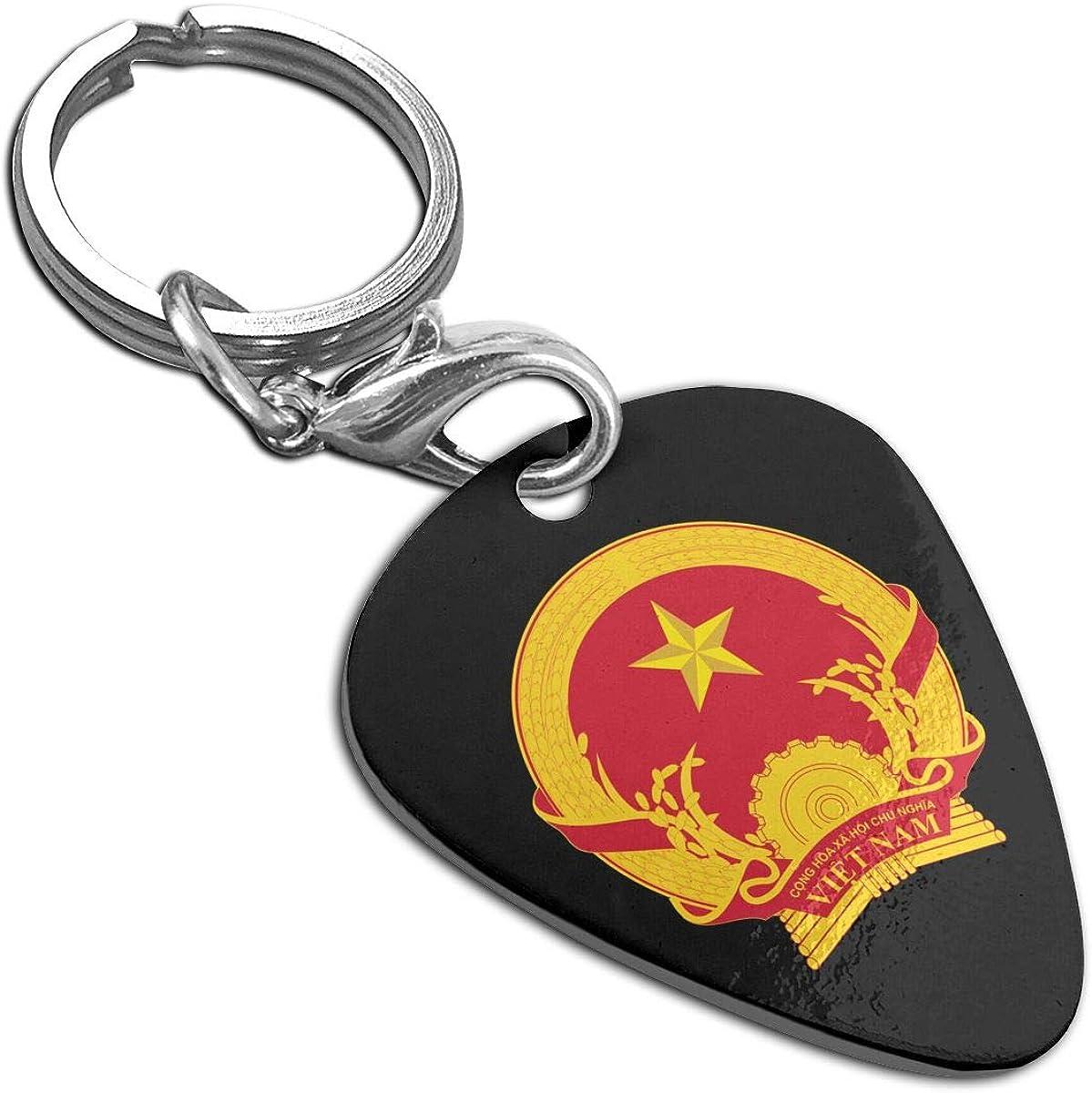 National Emblem Of Vietnam Guitar Pick Pendant Necklace Stainless Steel Pet Card Keychain