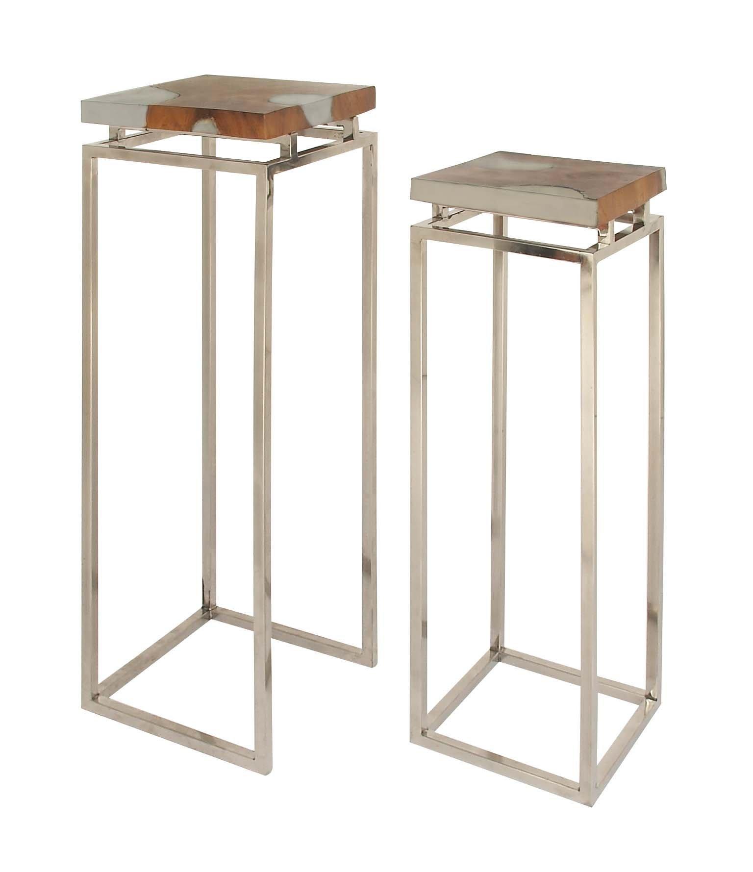 Deco 79 Teak Aluminum Resin Pedestal, 37'' x 42'', Brown/Silver by Deco 79