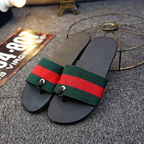 夏サンダルストライプ通気性ノンスリップdrag-and-drop The Wordレジャークールメンズ靴 B07BFT5MXY  Green Red UK9