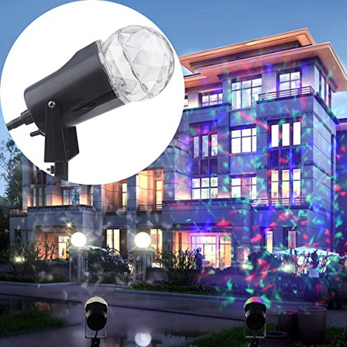 Halloween Yard Lights (Holiday Projector Light Outdoor, Popstar Rotating Kaleidoscope Waterproof Spotlight Flame Buy Slide Show Projection Lighting for Halloween Xmas Patio House Home Yard Decorations(White-Multi Color))