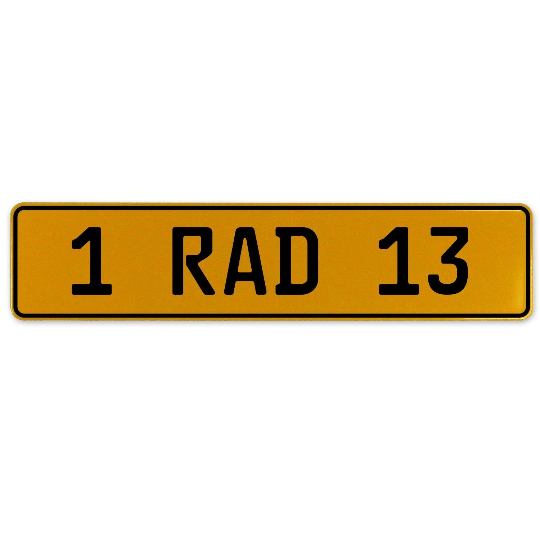 Vintage Parts 559065 Yellow Stamped Aluminum European Plate 1 RAD 13