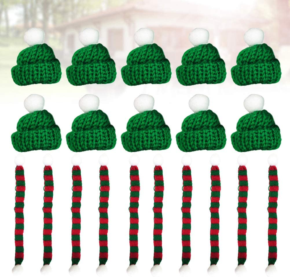 JOYOOY Christmas Mini Scarf and Hat Set Creative Plants Ornament Lovely Doll Clothes Accessories Party Decor for Home Party 20 Pcs Hat:4 * 4cm, Scarf:1 * 23cm
