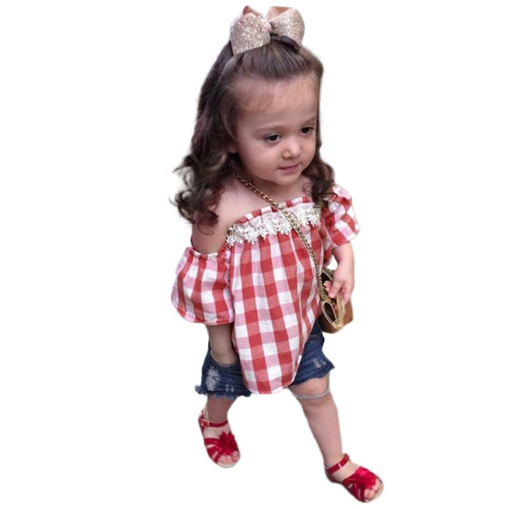 4462e6bfcae0b Efaster Toddler Baby Girls Plaid Lace Off Shoulder Tops+Hole Denim Shorts  Set (6-12 Months)  Amazon.co.uk  Clothing