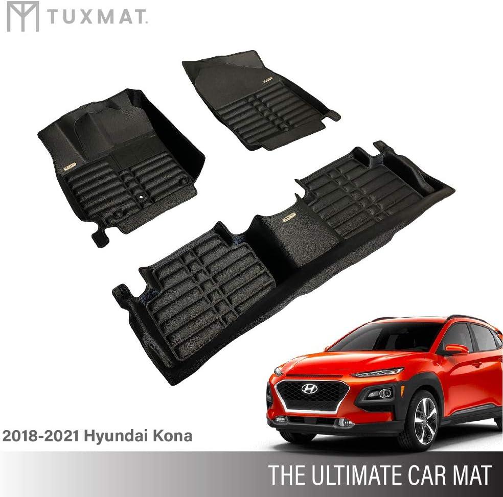 Waterproof All Weather TuxMat Custom Car Floor Mats for Hyundai Genesis Sedan AWD 2015-2016 Models Laser Measured Largest Coverage The Ultimate Winter Mats Full Set - Black