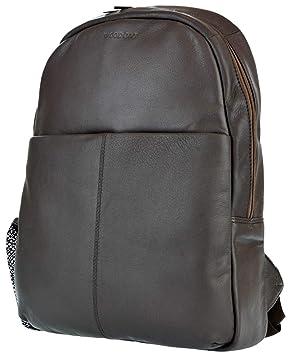 Rucksack Leder Damen schwarz Backpack Echtleder Rindleder Lederrucksack WOODBAG
