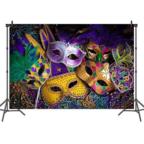 Sensfun 8X6 FT Vinyl Carnival Masquerade Photography Backdrop Purple Green Gold Mardi Gras Mask Photo Backgrounds for Masquerade Party Studio -