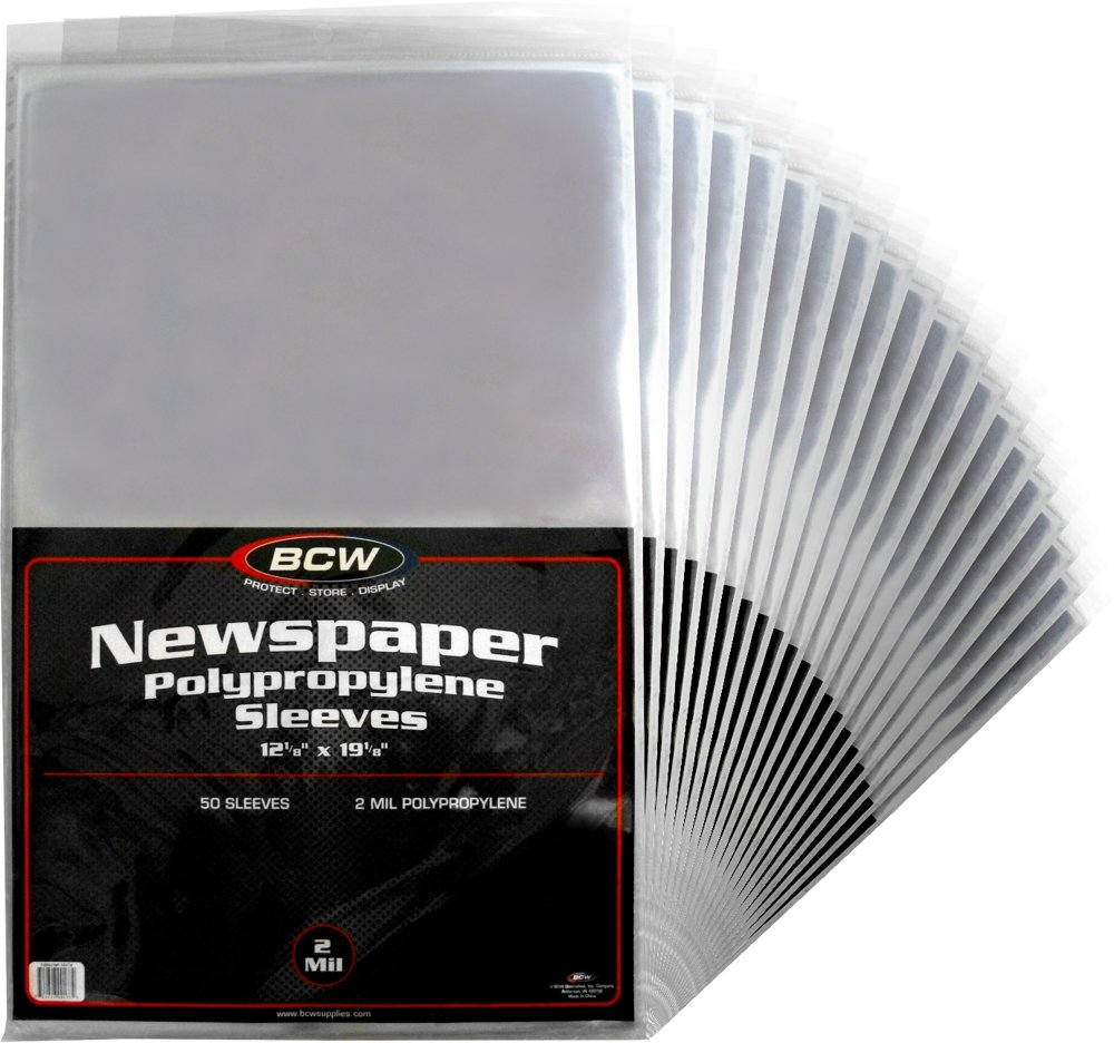 (1000) Newspaper Sleeves - 12-1/8'' x 19-1/8'' - BCW Brand