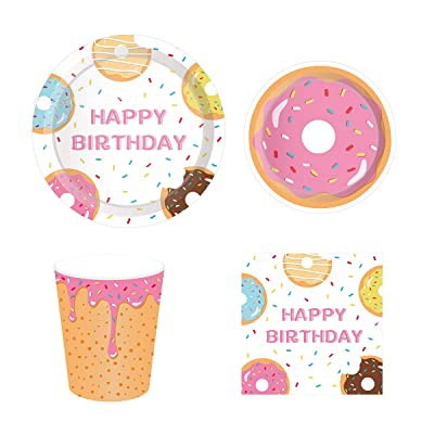 Donut Party Supplies Pack Serving 16 Guests, Including Dinner Plates, Luncheon Napkins and Cups Supply Tableware Set Kit for Donut Theme Baby Shower Birthday Party Decorations: Toys & Games
