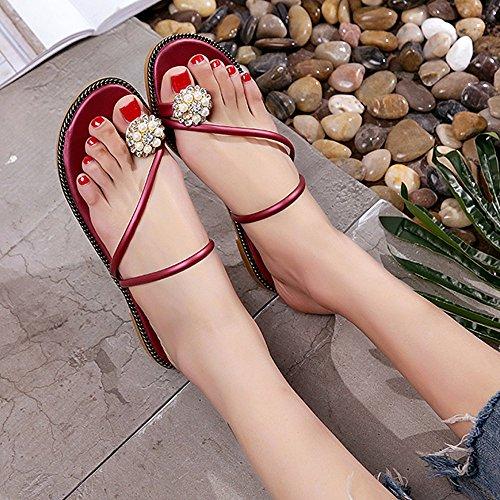 Ularma Los zapatos Peep-toe tacón Rhinestone de las mujeres Flip Flops Rojo