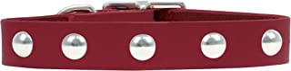 product image for Rockin Doggie Domed Rivet Veg Leather Dog Collar, 3/4 by 18-Inch, Red