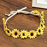 New Bohemian Style Flower Crown Headband Women Beach Headwear Cute Chrysanthemum Flowers Hair Bands Wreath Hair Accessories Yellow