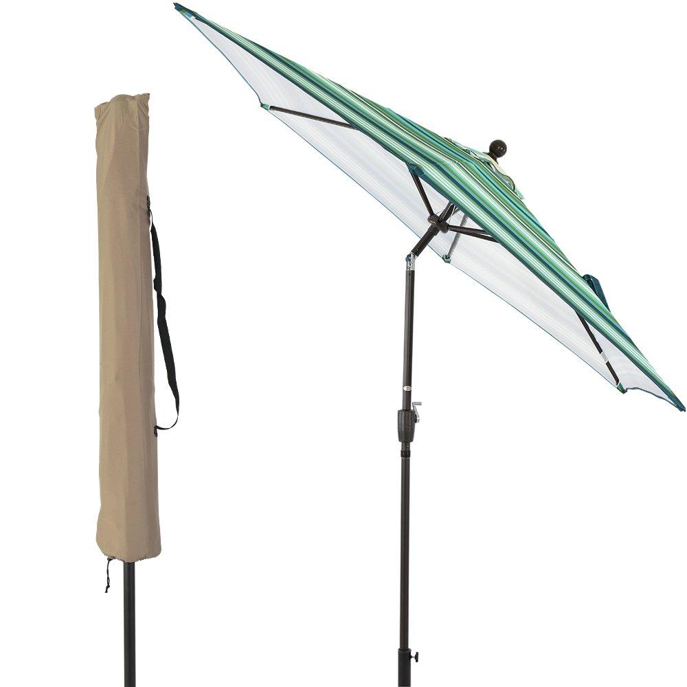 LCH 9Ft Outdoor Patio Umbrella Backyard Garden Aluminum Umbrella Sturdy Pole 8 Ribs Tilt Easy Crank Open (Stripe Green)