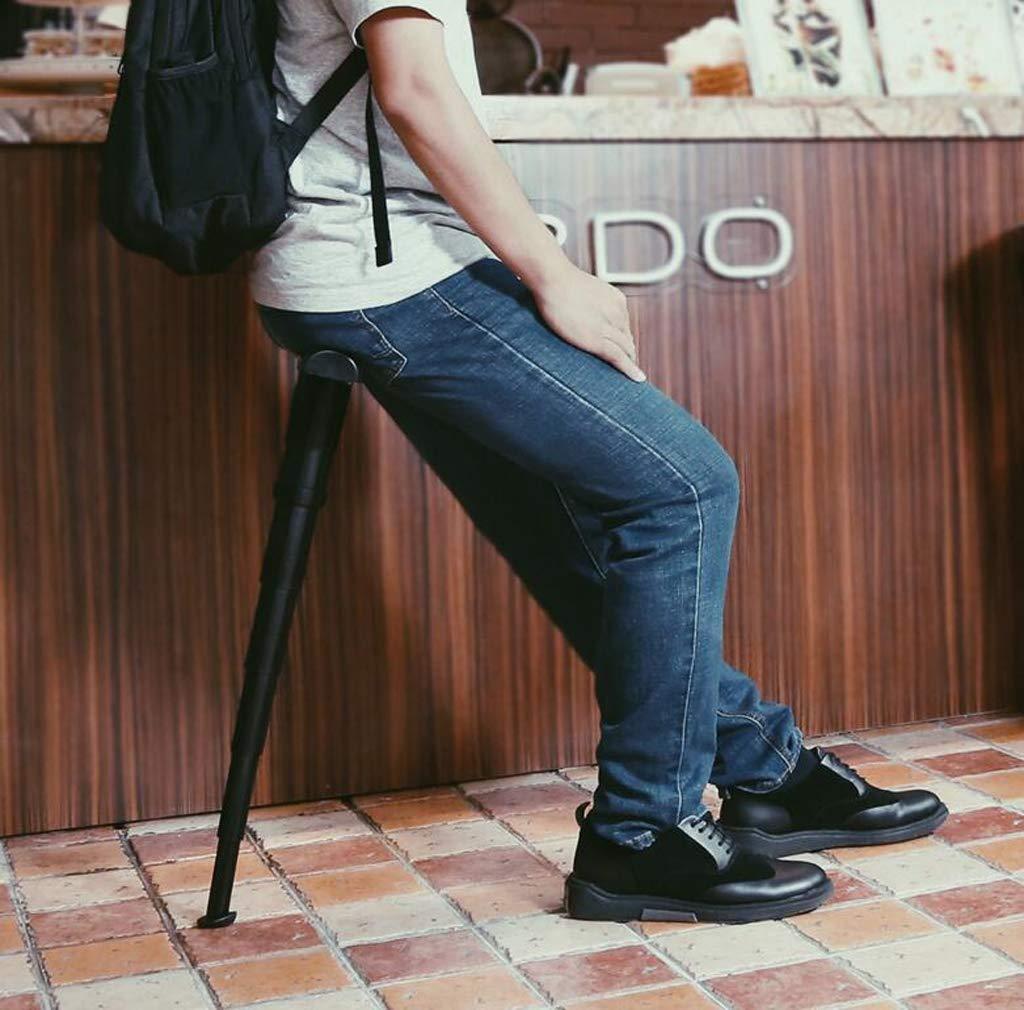 Wait-Black GGQF Tragbarer Falt-Outdoor-Stuhl Reisen Warteschlange anpassbarer Strich St/ühle Mini Portable Seat Telescopic Faltstuhltischen