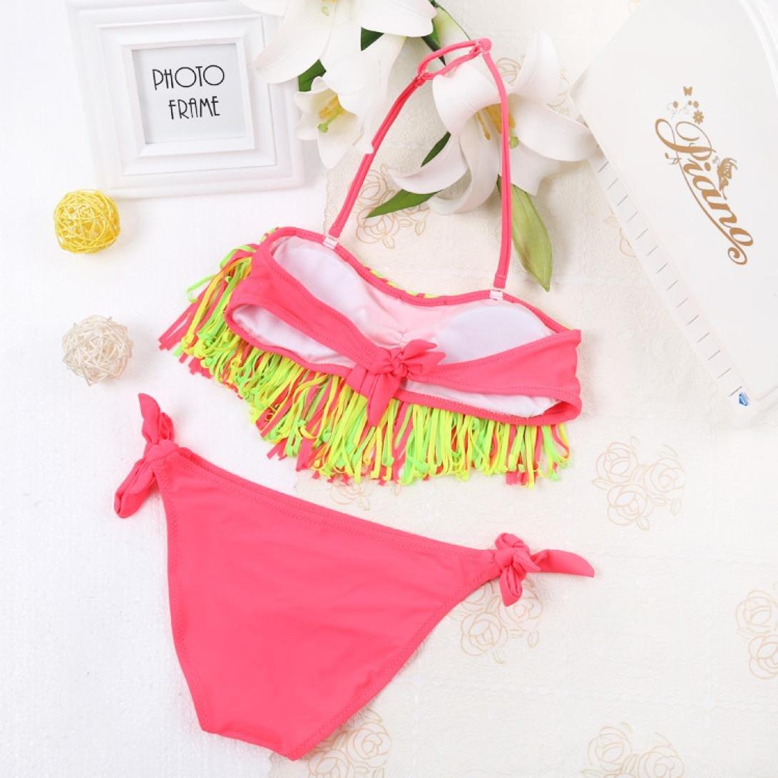 Kolylong Baby Girls Summer Swimwear Tassel Kids Split Nylon Swimsuit Bikini Set