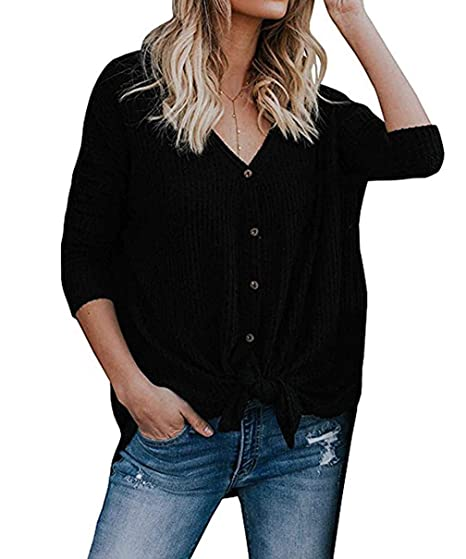 4c7d1690dbed Womens Waffle Knit Tunic Blouse Tie Front Knot Henley Tops Loose Long  Sleeve V Neck Button