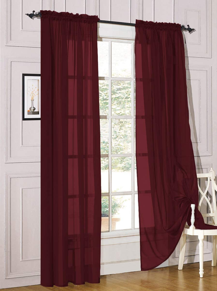 Decotex 2 Piece Sheer Voile Light Filtering Rod Pocket Window Curtain Panel Drape Set Available in a Variety of Sizes and Colors (54