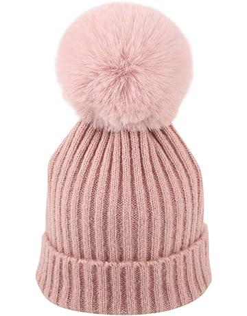 9f154f537 Mitlfuny Niños Niñas Sombreros de bebé Unisex Desmontable Bola de Pelo  Grande Gorro de Punto Invierno