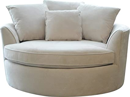Be Comy U0026 Cozy With Cuddler Chair In Creme Color Made Of Base Of Hardwood  Plywood