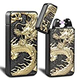 Kivors USB Rechargeable Windproof Flameless Electronic Double Pulse Arc Cigarette Lighter Relief Chinese dragon Lighter (Black)