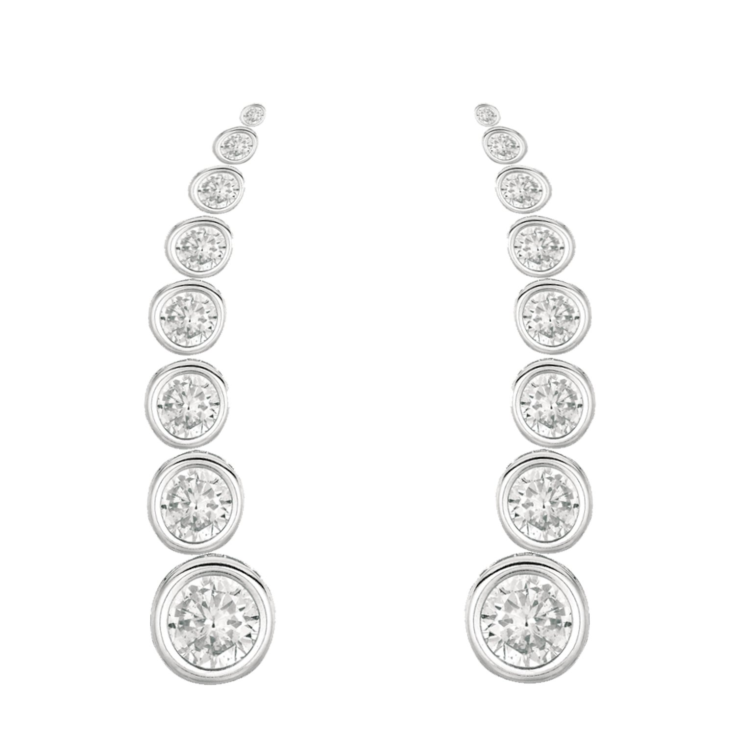 Sterling Silver Cubic Zirconia Ear Climber Bezel-set Crawler Earrings 25mm bezelearclimber-1