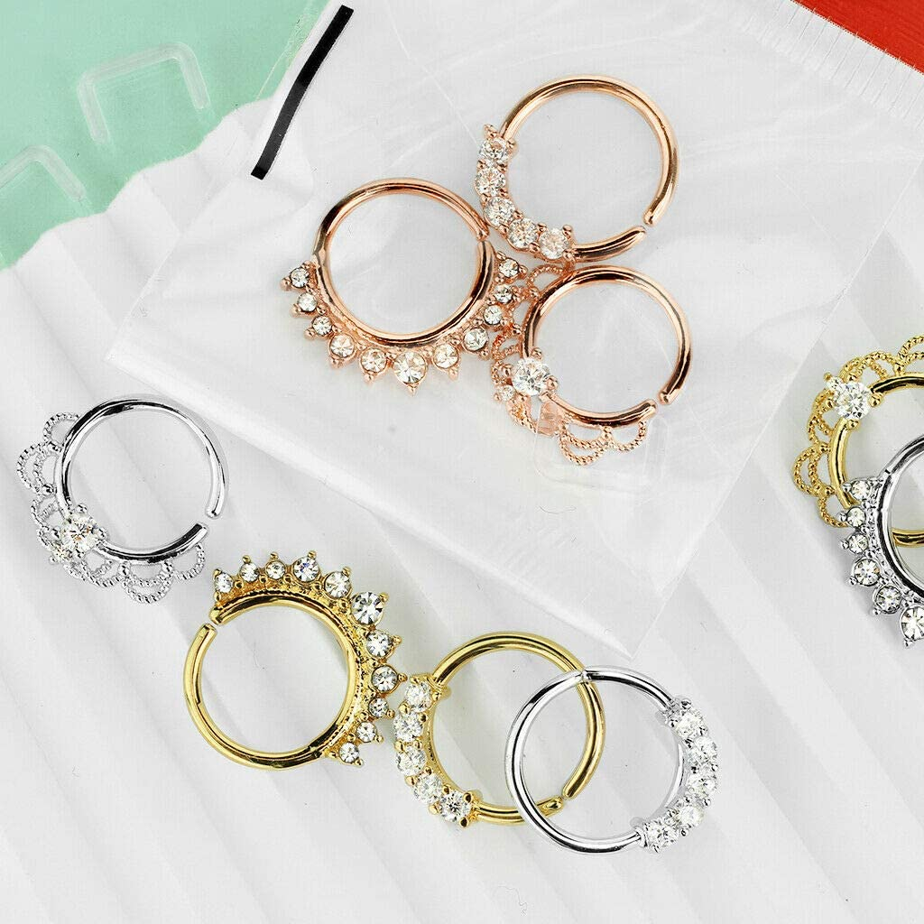 Luxe Modz 3 Pcs Value Pack Assorted Half Circle Bendable Nose Septum and Ear Cartilage Hoops with Free Clear Retainer