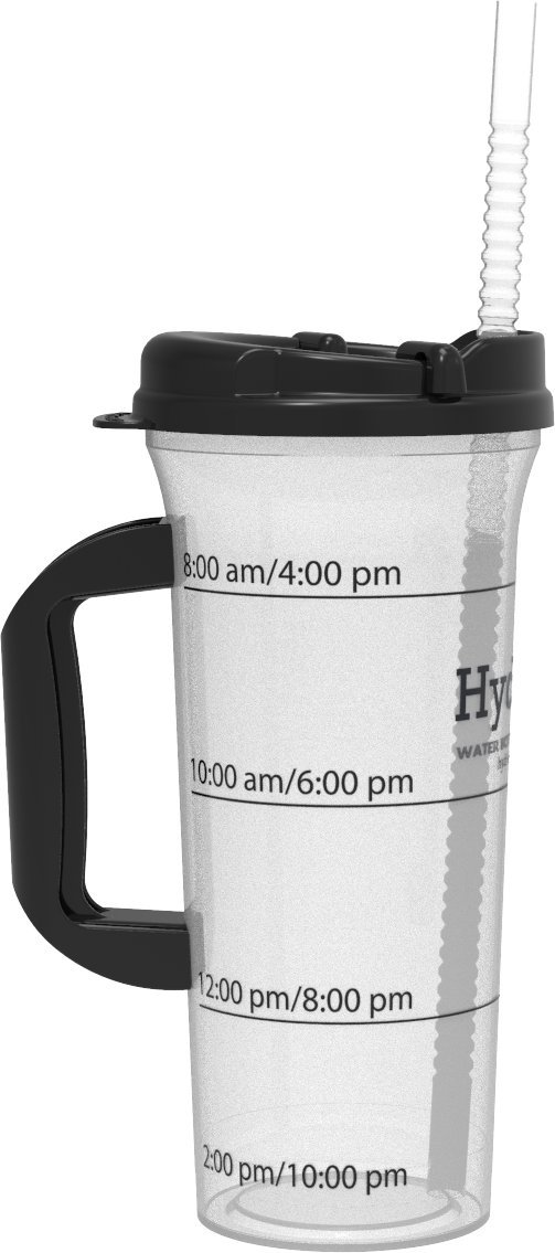Hydr-8 Black 32oz Time Marked Travel Water Bottle with handle by Hydr-8 Water Bottles