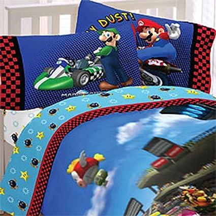 Edredon De Mario Bros.Super Mario Bros Completo Edredon Y Juego De Sabanas 5 Piezas De