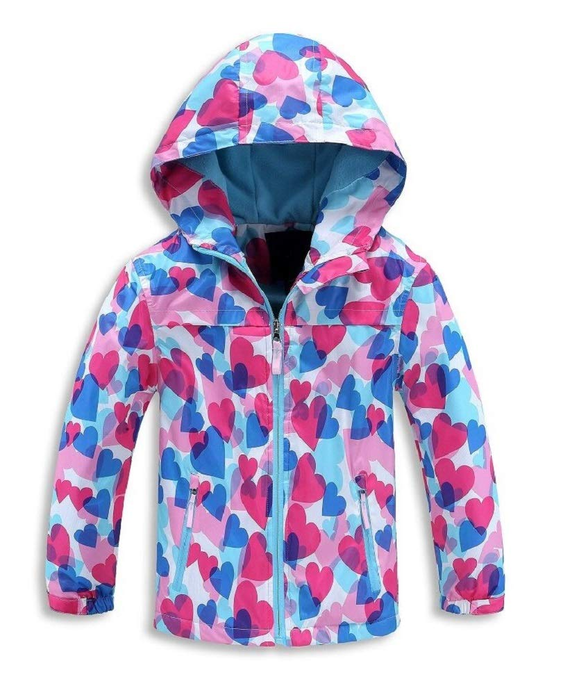 Jingle Bongala Kids Boys Girls Outdoor Waterproof Jacket Fleece Lined with Hood Light Windbreaker