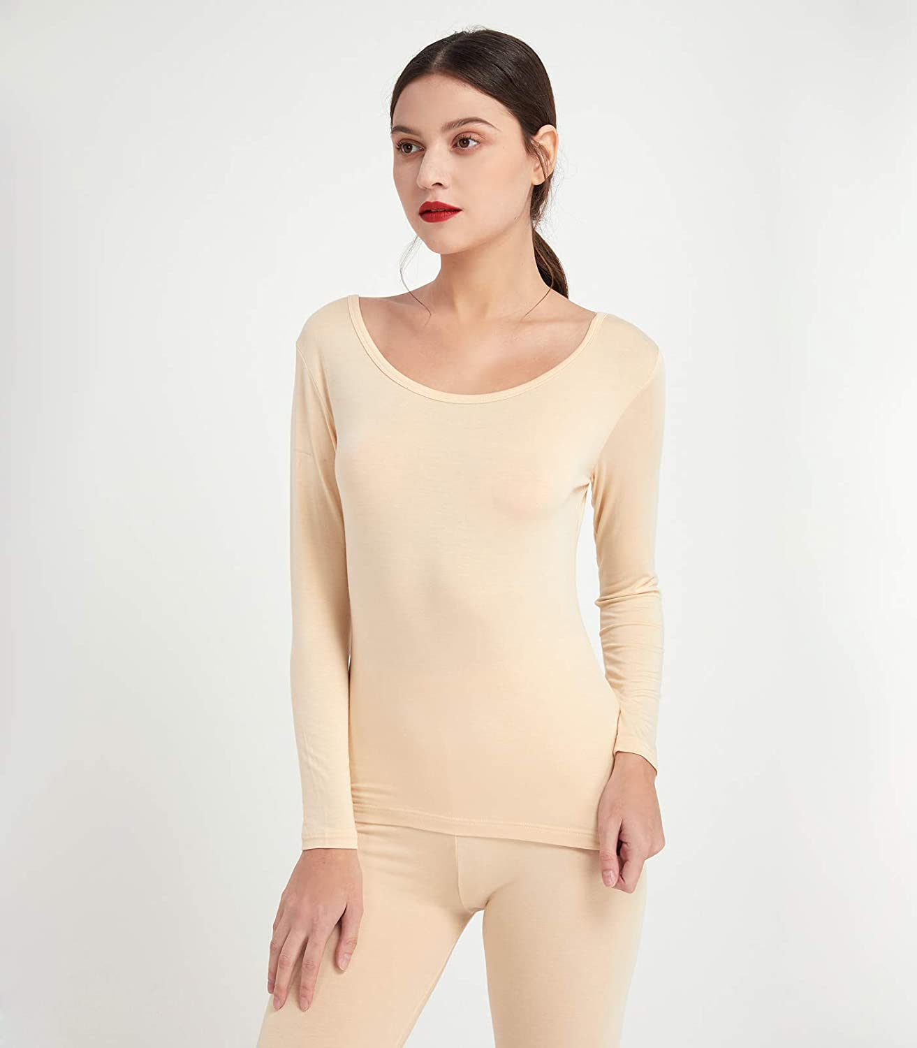 Mcilia Womens Cotton /& Modal Scoop Neckline Base Layer Thin Thermal Long Sleeve Top
