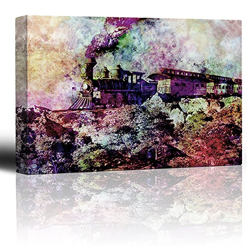 Watercolor train with smoke charging through deser landscape Old locomotive and passenger cars plumes of smoke