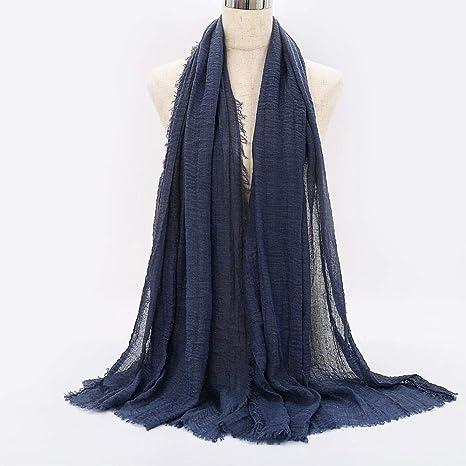 Wijider fulares de Mujer 90 * 180 Cm Mujeres Arruga Hijab Bufanda ...
