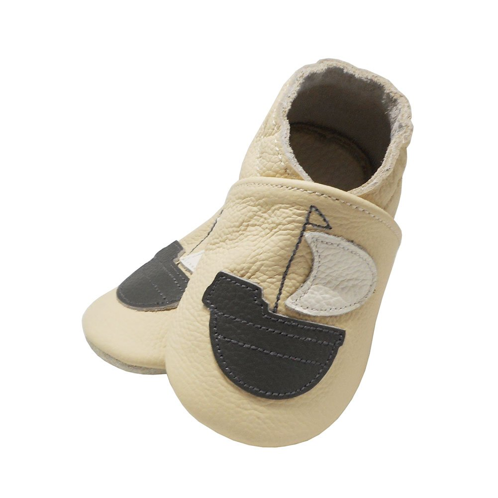Yalion Baby Soft Sole Leather Shoes Infant Boy Girl Toddler Moccasin Prewalker Crib Shoes Sailboat 0-36 Months Beige