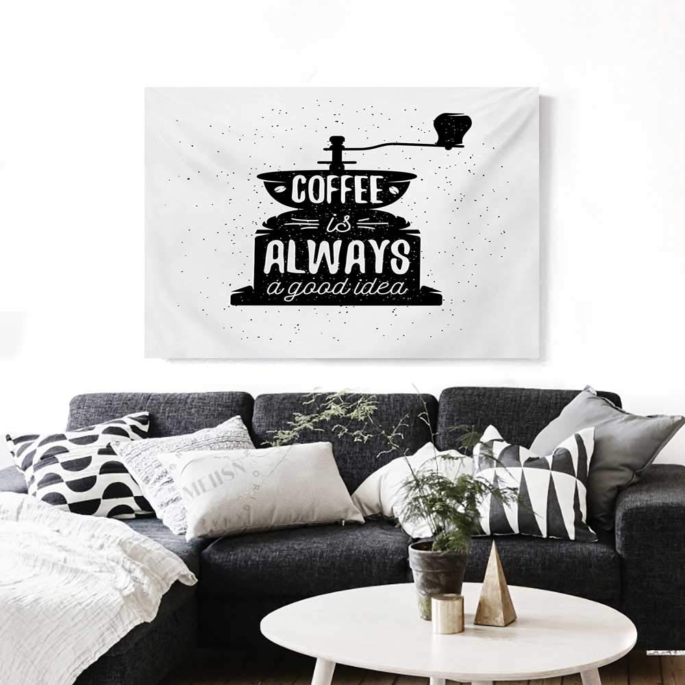 """Quote The Picture for Home Decoration Coffee Maker Silhouette with Coffee is Always a Good Idea Grungy Typography Customizable Wall Stickers 24""""x20"""" Black and White"""