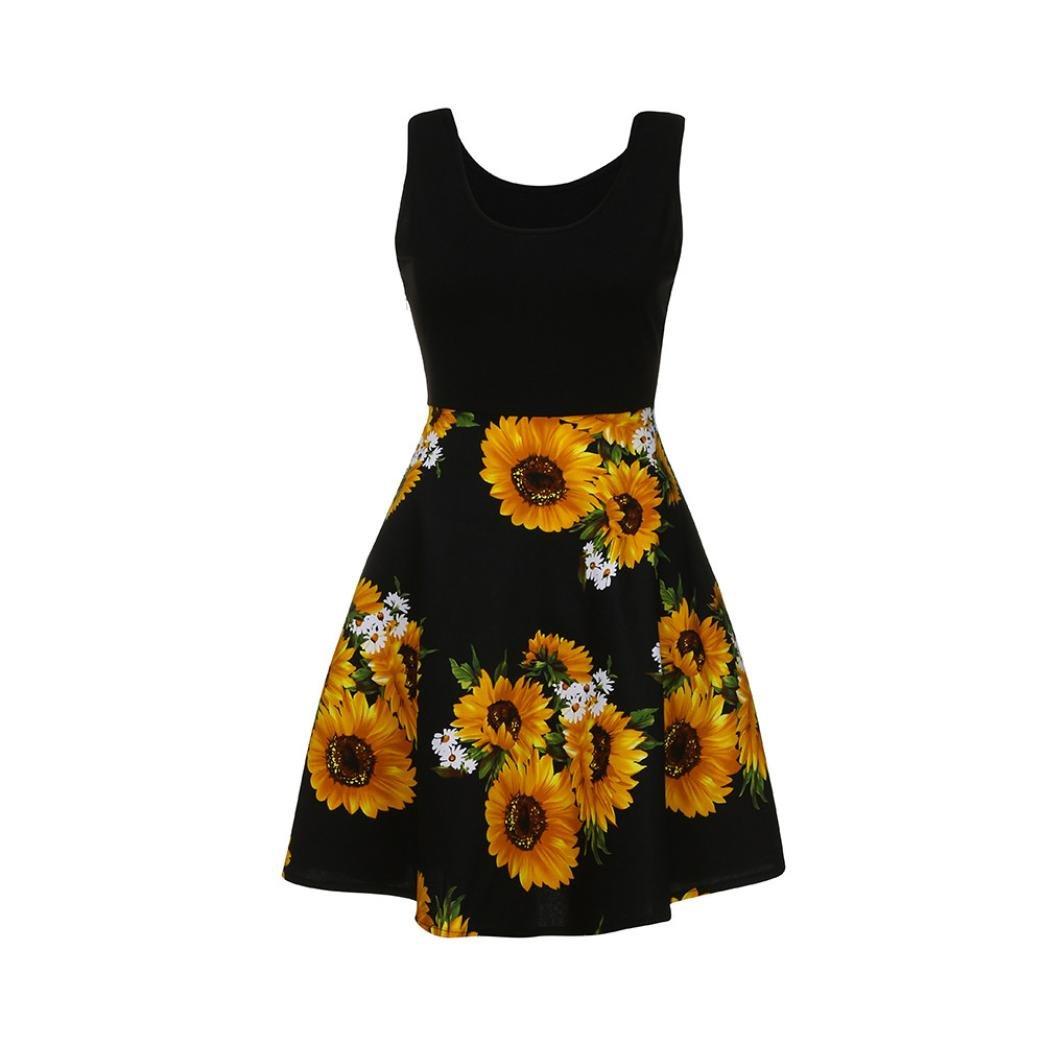 311652c376a7 Womens Sunflowers Printed Crew Neck Sleeveless A-Line Sun Dresses Beach Tank  Dress at Amazon Women's Clothing store: