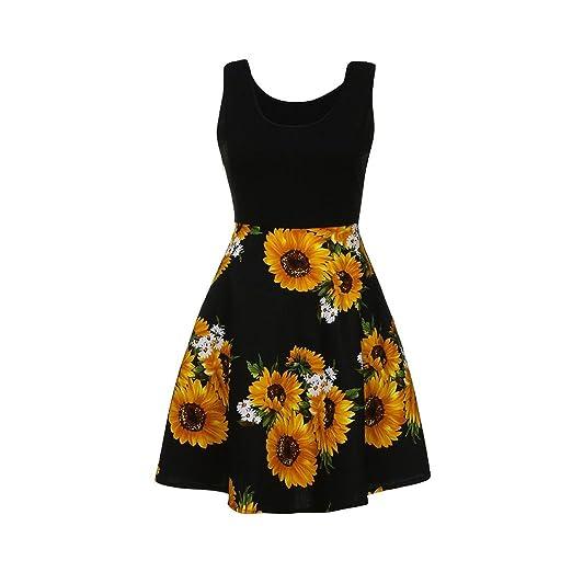 a85acfe77f73 iumei Womens Sunflowers Printed Crew Neck Sleeveless A-Line Sun Dresses  Beach Tank Dress (