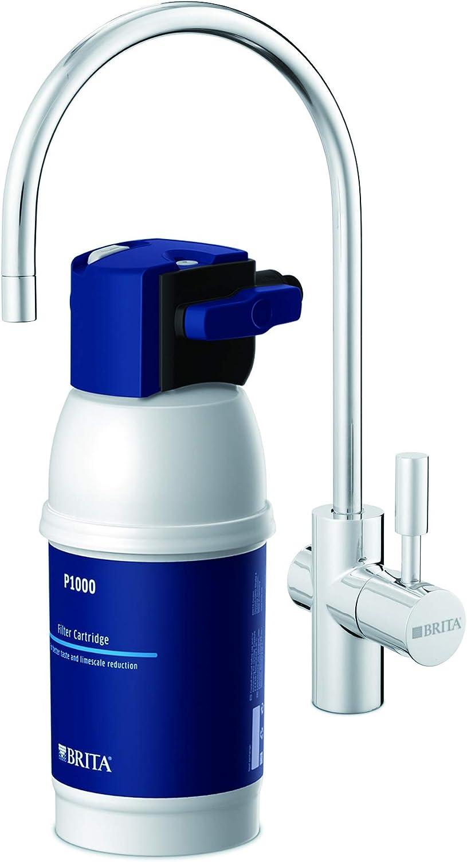 BRITAMyPure - Grifo de Agua con Filtro para 12 Meses - Acero Inoxidable, Plateado, Sistema de filtrado, Reduce cal, cloro, metales
