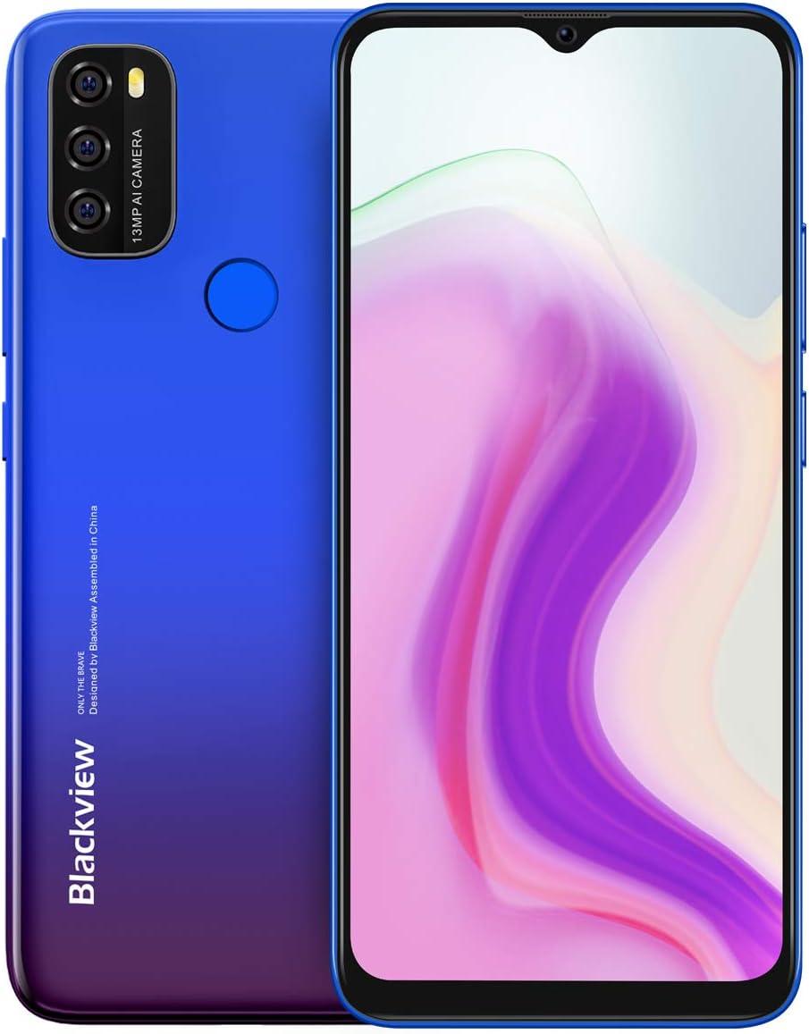 Android 11 Smartphone ohne Vertrag Blackview A70, 6,5?? HD+ Bildschirm, 8,3mm schlank&leicht, 5380mAh-Akku, Octa Core 3 GB+32GB, 13 MP+5 MP,Dual-SIM-Handy 4G, Gesichtsentsperrung&Fingerabdruck