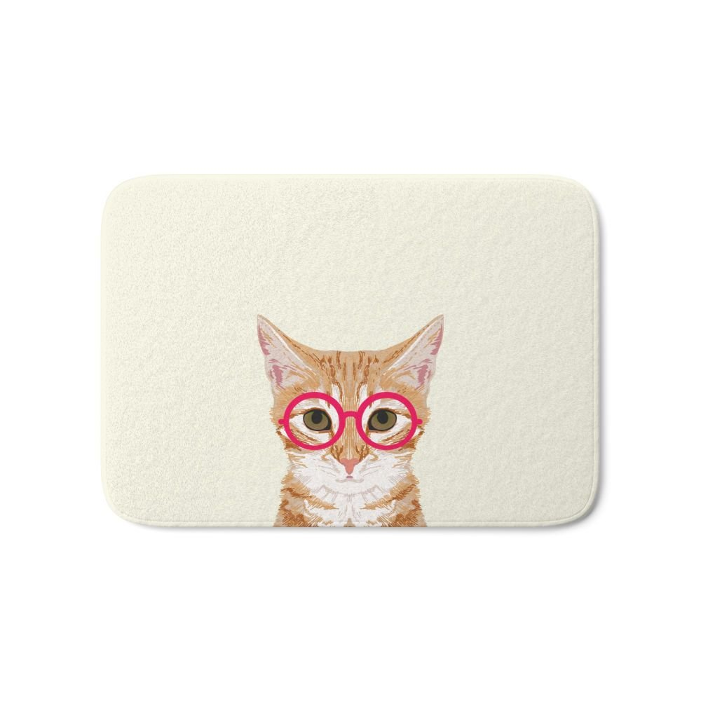 Society6 Ginger - Cute Cat With Glasses Hipster Cat Art For Dorm College Decor Funny Cat Lady Meme Bath Mat 21'' x 34'' by Society6 (Image #1)