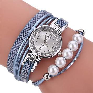 Amazon.com: Reloj de pulsera con perlas de imitación de ...