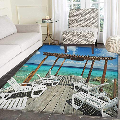 Travel Rugs for Bedroom Beach Sunbeds Ocean Sea Scenery with Wooden Seem Pier Image Print Circle Rugs for Living Room 2'x3' Blue White and Pale Brown