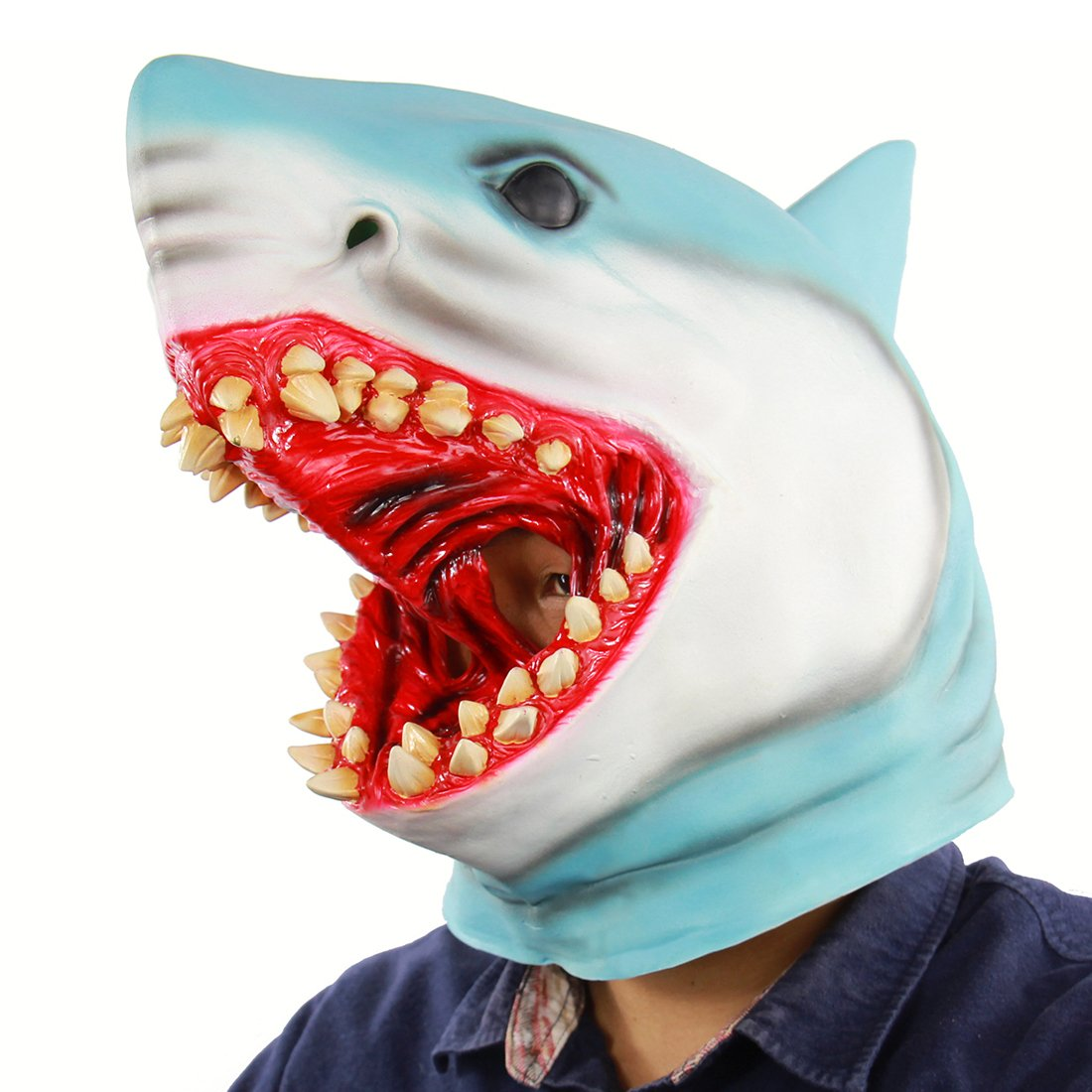Hophen Halloween Horror Shark Animal Cosplay Props Scary Bloody Great White Latex Masks For Masquerade Parties,Carnival Decorations