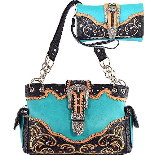 (b6-3)-buckle Collection Western Handbag-g939w91-set (turquoise/black)