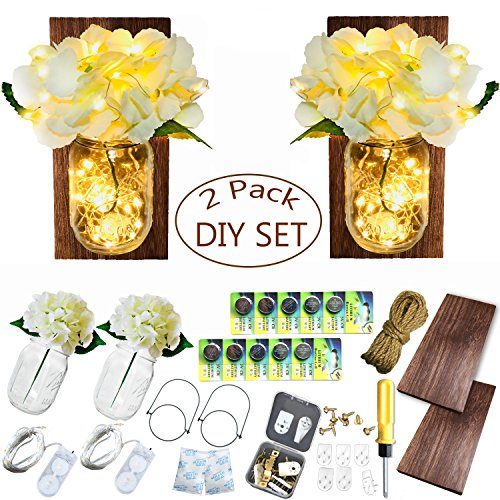 Mason Jar Handmade Flowers Lights, 2 Pack MasonJars,Artificial Flowers,Painted Wooden Boards,40 Leds String Fairy Lights,20pcs Hanging Pothook Button Accessories Included for Handmade DIY (Brown Wood) by Aobik (Image #6)