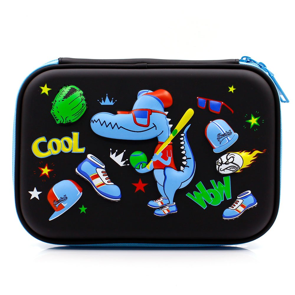 Cool Baseball Boys Dinosaur Pencil Case - Large Capacity Hardtop Pencil Box with Compartments - Colored Pencil Holder School Supply Organizer for Kids Girls Toddlers Children (Black)