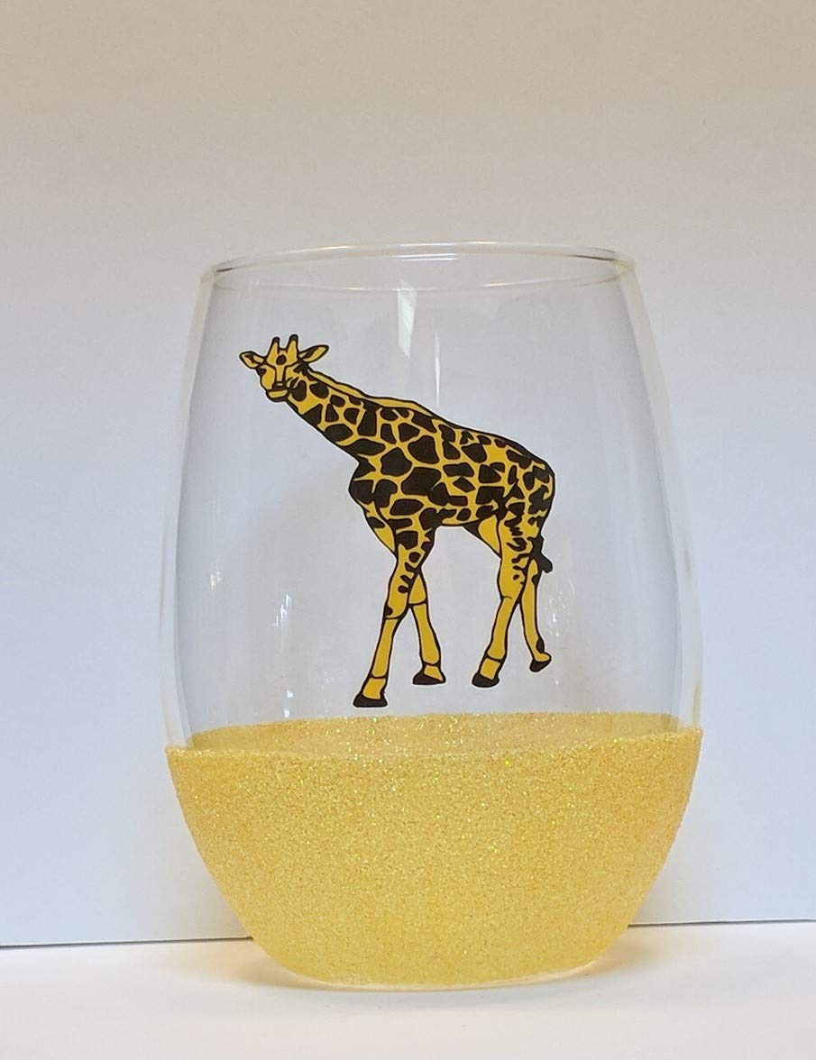Giraffe Glitter Stemless Wine Glass | Giraffe Lover Gift | Giraffe Gift | Giraffe Glass | Animal Lover Gift | African Gifts