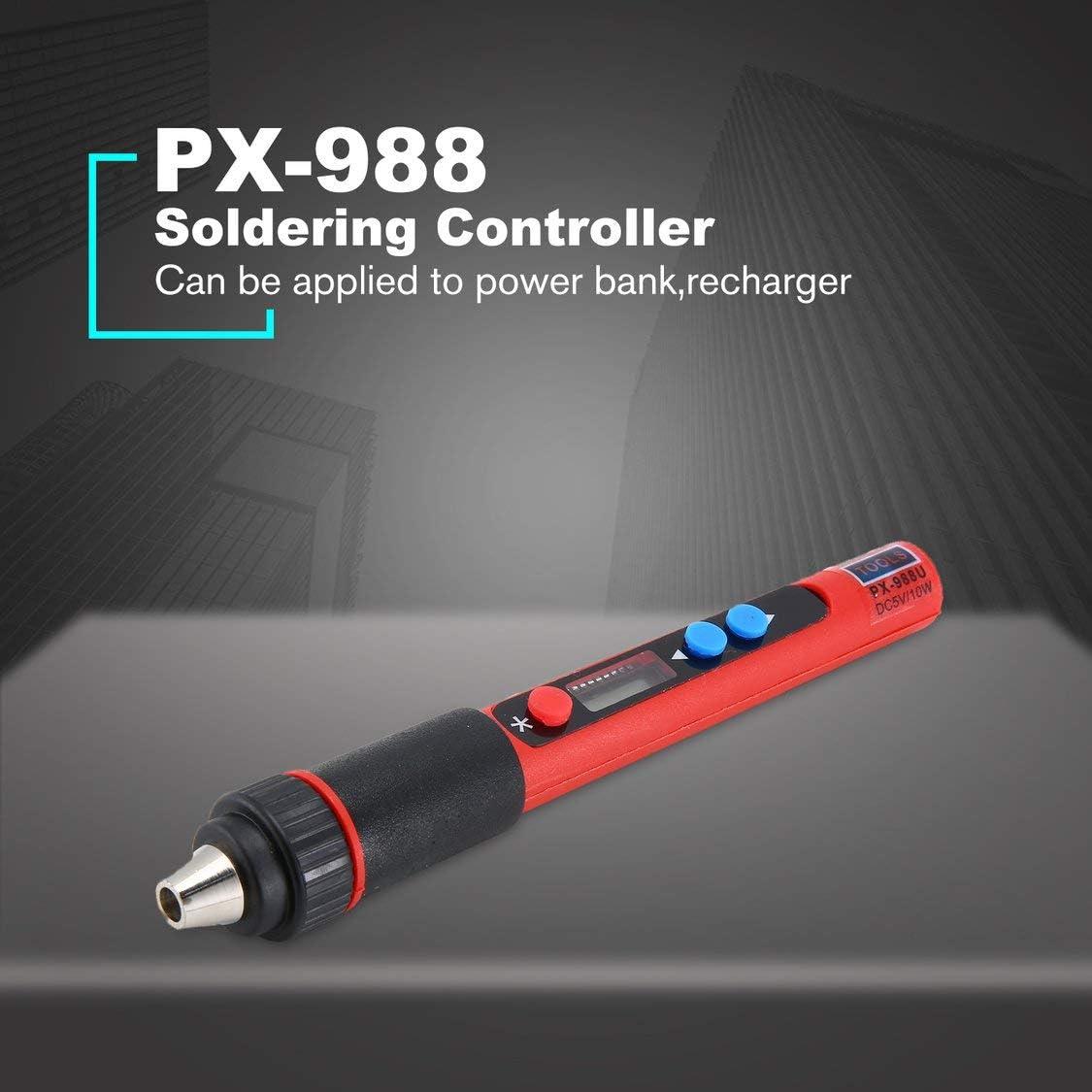 PX-988 5V USB-10W LED-Digital-Temperatur Einstellbare Interne Heizung Elektro L/ötkolben Werkzeuge Kits mit L/ötspitzen-Red /& Black