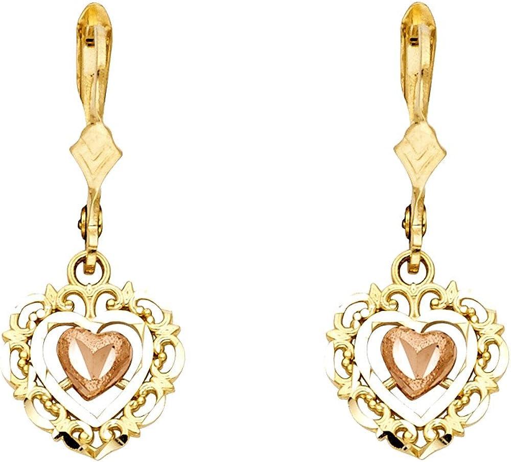 30mm X 12mm 14k Two-tone Gold Dangle Heart Earrings,
