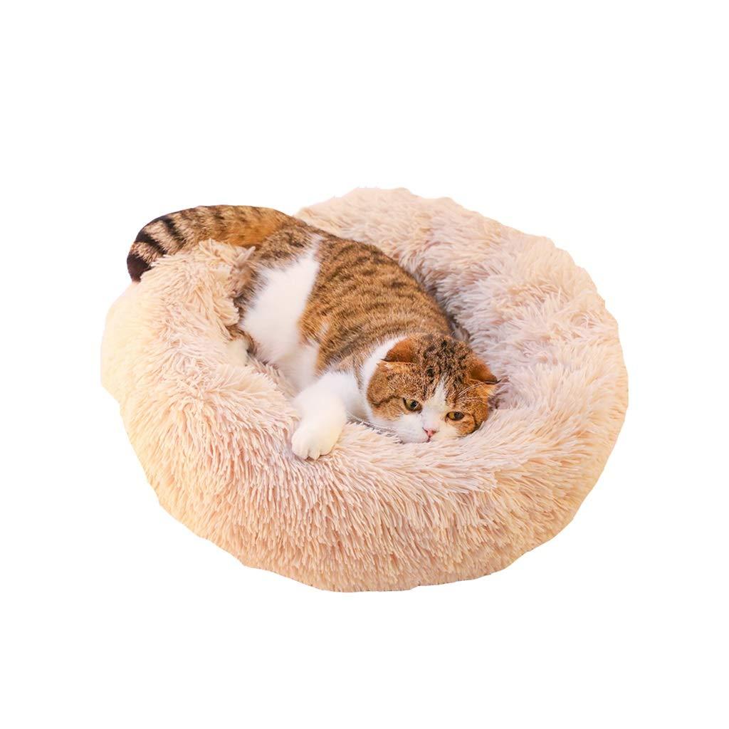 65x23cm Plush Cat Bed, Round to Keep Warm Thick Plush, Pet Favorite Nest (Beige, 65x32cm) (Size   65x23cm)