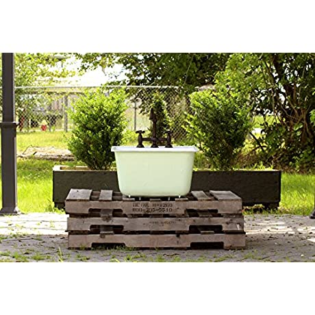 Refinished Vintage Utility Farm Sink 24 Cast Iron Drop In Sink Package Pastel Mint Green Exterior